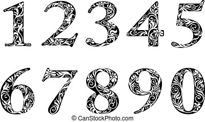 Digits and numbers set with floral elements in retro style