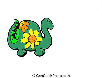 Green Dinosaur with yellow and orange flowers Background