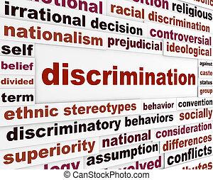 Discrimination social issue concept