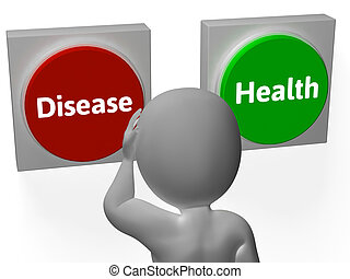 Disease Health Buttons Showing Sickness Or Medicine
