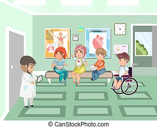 Disease patients in doctors waiting room at the hospital