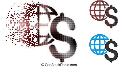 Dispersed Pixel Halftone Global Economics Icon