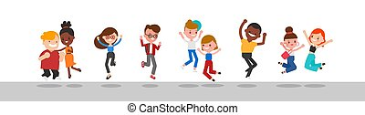 Diverse group of happy people jumping.