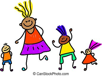 happy and diverse group of children - toddler art series