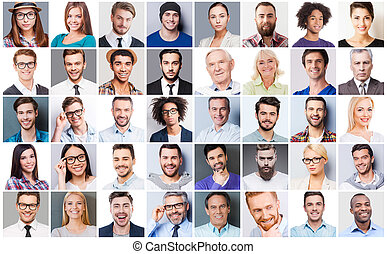 Diverse people. Collage of diverse multi-ethnic and mixed age people expressing different emotions
