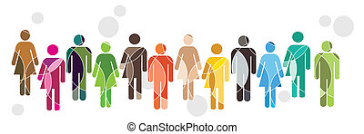A brightly coloured human diversity concept