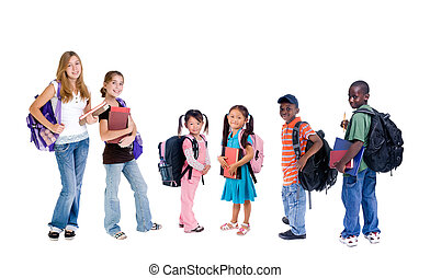 A group young school kids. diveristy in education.