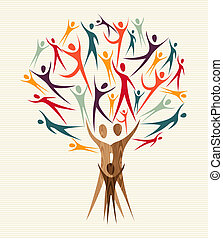 Family human shapes colorful design tree. Vector file layered for easy manipulation and custom coloring.