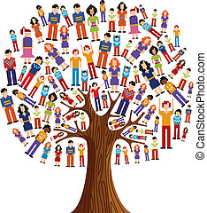 Isolated diversity tree with pixelated people illustration. Vector file layered for easy manipulation and custom coloring.
