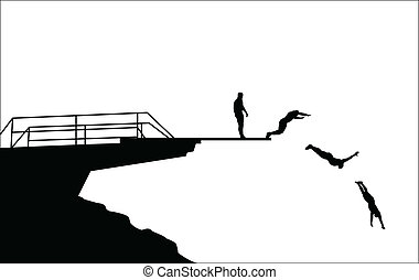 diving silhouettes