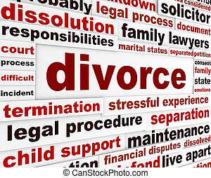 Divorce legal words poster design