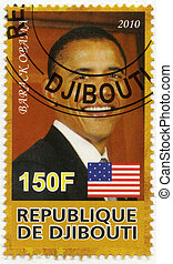 DJIBOUTI - CIRCA 2010: A stamp printed in Republic of Djibouti shows Barack Obama, the 44nd President of the United States, circa 2010
