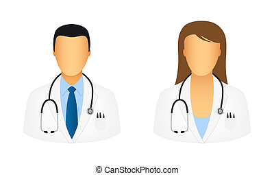 Doctor icons isolated on white background