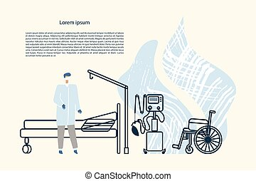 Doctor in a hospital room, outlines of bed, lung ventilator and wheelchair. Vector template