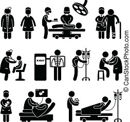 A set of pictogram showing a set of artwork related to doctor, nurse, hospital, clinic, surgery, pregnant, patient, and children.