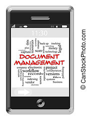 Document Management Word Cloud Concept on Touchscreen Phone