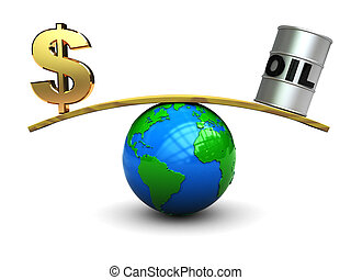 dollar and oil on scale
