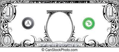 American dollar bill with artistic ornament