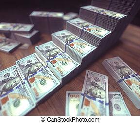 Dollar Bills Growing Bar Chart