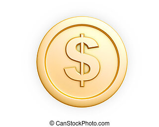 dollar symbol gold coin isolated on white background
