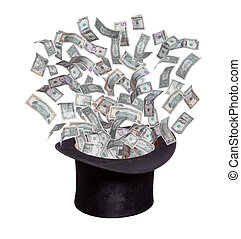 dollars flaying out of old hat