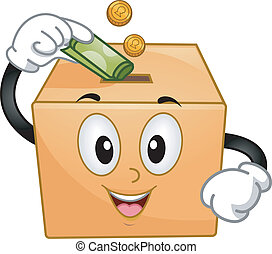 Mascot Illustration of a Donation Box Inserting Coins and a Paper Bill
