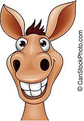 Vector illustration of smiling donkey head cartoon