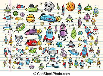 Doodle Space Vector Design Elements Set Illustration