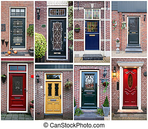 collage of typical dutch doors