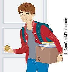 Illustration of a Male Teen Moving into a New Dorm Room