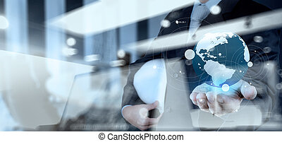 Double exposure of business engineer holding the earth and social network structure as concept