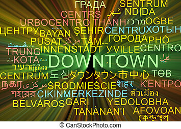 Downtown multilanguage wordcloud background concept glowing