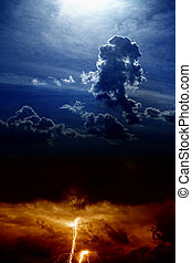 Dramatic background - lightning and rain in sunset sky, dark clouds, light from above