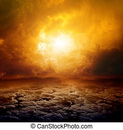 Dramatic apocalyptic background, mayan end of world, red sunset, armageddon, hell