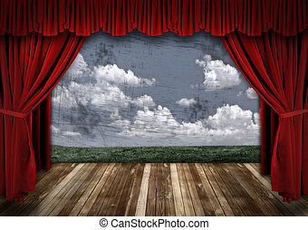 Stage With Red Velvet Theater Curtains and Sky Backgroud