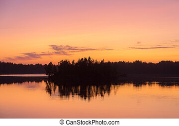 forest lake after sunset