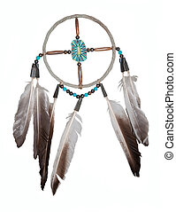Dream catcher - original from an indian reservation in the US - isolated on white.