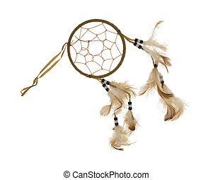 A dream catcher with feathers and beads on a white background.