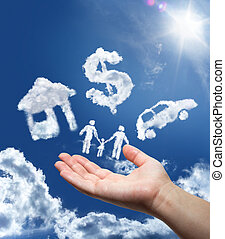 dreams in the sky: car, home, money and family