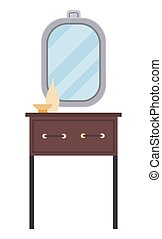 Dressing table with mirror and vases isolated on white background. Female room furniture elements