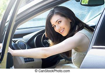 Girl sitting in the car