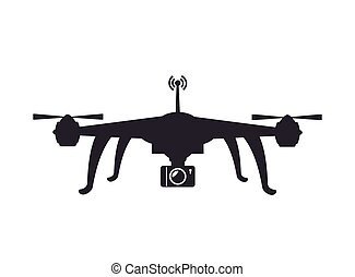 drone device unmanned aircraft with portable camera. silhouette vector illustration