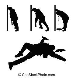 drunk man vector silhouette