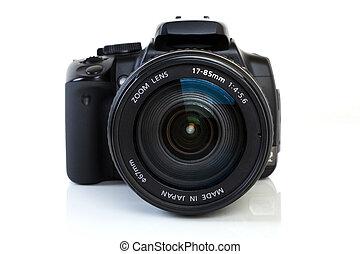 Digital Single Lens Reflex Camera on white background.