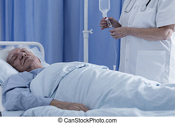 Dying senior patient