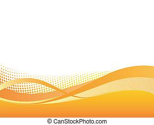 Dynamic orange flow background in vector format