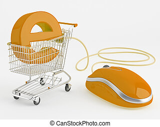 shopping carts operated computer mouse - the symbol of e-commerce