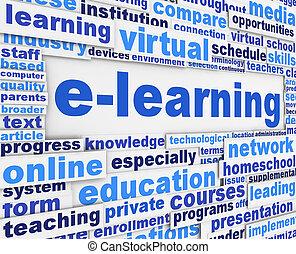 E-learning slogan poster conceptual design