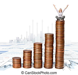 happy woman sit on euro coin piles