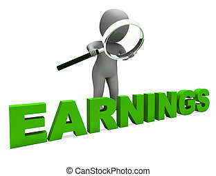 Earnings Character Showing Earning Revenue And Profitable Incomes
